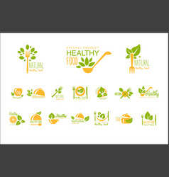 Set of healthy food and drinks logos natural vector