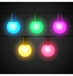 Set of light bulbs garlands for design vector image