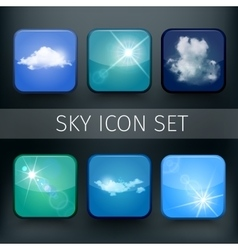Set of modern realistic icons with sun and clouds vector image
