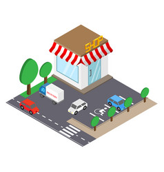 shop building with parking place in isometric vector image