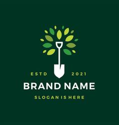 shovel tree leaf spade nature green logo icon vector image