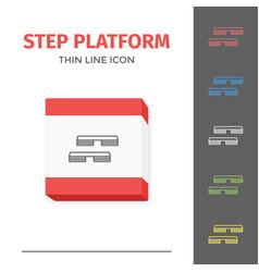 Simple line stroked step platform icon vector