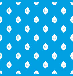 smiling lemon fruit pattern seamless blue vector image