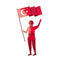 Soldier with turkey flag vector