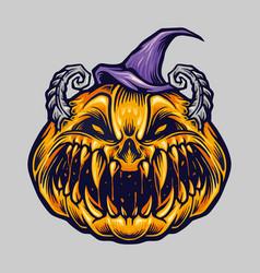 spooky creepy halloween pumpkin with hat vector image