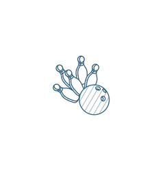 strike shot spare bowling ball isometric icon 3d vector image