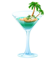 Summer refreshing cocktail tropical island with vector