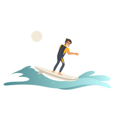 summertime sea and ocean activity - young man in vector image