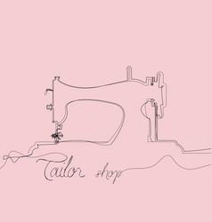 tailor shop logo single black line drawing vector image