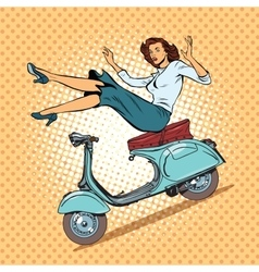The girl on scooter accident vector