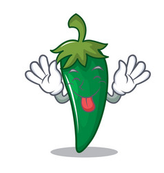 Tongue out green chili character cartoon vector