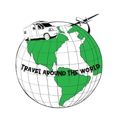 trailer traveling on the globe vector image