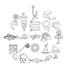 Vacuity icons set outline style vector