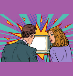 viewers couple family husband and wife watch tv vector image