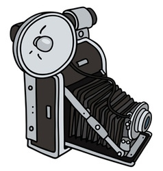 Vintage camera with a flashlight vector image