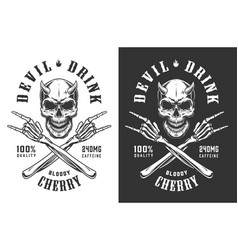 Vintage monochrome demon skull print vector