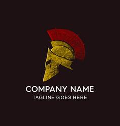 Vintage spartan helmet logo vector