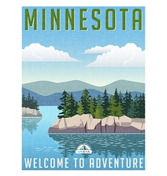 Vintage travel poster or sticker of Minnesota vector image