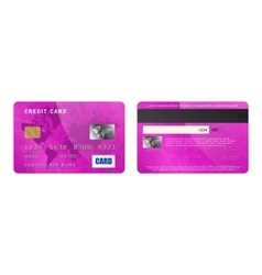 Violet credit card two sides in realistic style vector