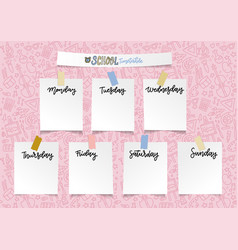 weekly school planner template for girls vector image