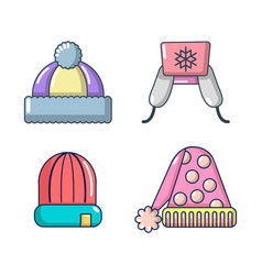 winter hat icon set cartoon style vector image