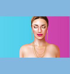 Woman wearing jewelry vector