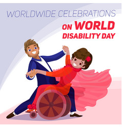 world disability day concept background cartoon vector image
