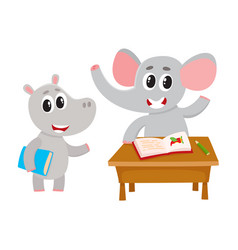 cute animal student characters elepant at desk vector image vector image