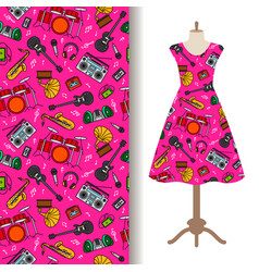 dress fabric pattern with music instruments vector image vector image