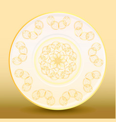 old-fashioned white plate with a gold vintage vector image