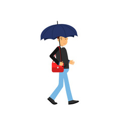 young man walking with blue umbrella vector image vector image