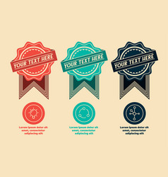 3 retro labels and icons vector image vector image