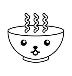 Kawaii hot bowl cartoon vector