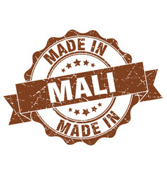 made in mali round seal vector image vector image