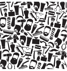 background pattern with barber salon or shop icons vector image vector image