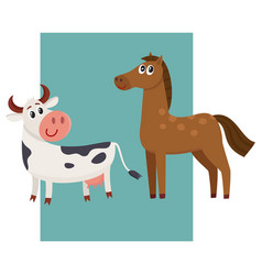 brown horse black and white cow with big eyes vector image vector image