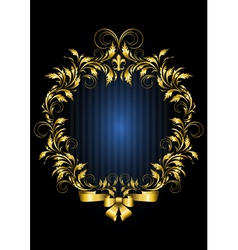 Gold vintage frame with blue stripes background vector