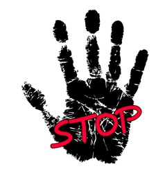 Hand print with stop sign vector image vector image