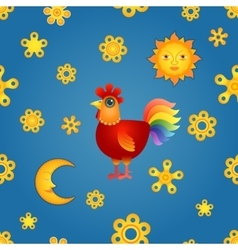 Red Rooster Seamless vector image vector image