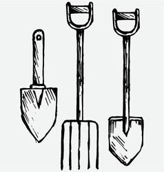 Spade and pitchfork vector image vector image