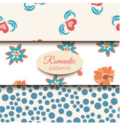 3 romantic seamless patterns pink blue vector