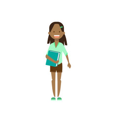 african school girl with book full length avatar vector image