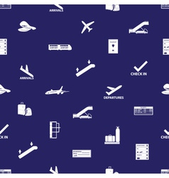 Airport icons blue and white seamless pattern vector