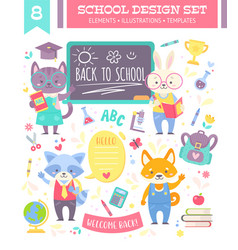 back to school design set with animals vector image