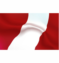 Background republic of peru flag in folds vector
