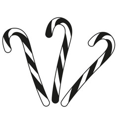 black and white candy cane silhouette set vector image