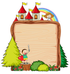 Blank wooden banner with fantasy cartoon vector