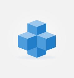 Blue cubes icon - blockchain technology vector
