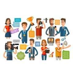 Business infographics journalism and TV icons set vector