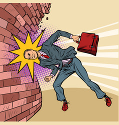 businessman breaks wall with his head vector image